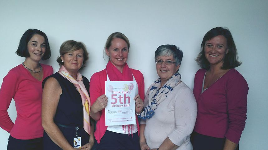 Committee members of Think Pink Lux, from left: Margot Parra, Michaela Dennis, Carrie Cannon, Theresa Calvert and Nicola Vickers
