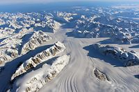 This Nasa photo obtained November 24, 2015 shows the Heimdal Glacier in southern Greenland, captured on October 13, from NASA Langley Research Center's Falcon 20 aircraft flying 33,000 feet above mean sea level during NASAs Operation IceBridge, an airborne survey of polar ice. AFP PHOTO/ HANDOUT / NASA/ GODDARD / JOHN SONNTAG