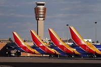 PHOENIX, AZ - MARCH 13: Boeing 737 Max 8 passenger planes sit on the tarmac at Phoenix Sky Harbor International Airport on March 13, 2019 in Phoenix, United States. The United States has followed countries around the world and has grounded all Boeing 737 Max aircraft following the crash of an Ethiopia Airlines 737 Max 8.   Ralph Freso/Getty Images/AFP == FOR NEWSPAPERS, INTERNET, TELCOS & TELEVISION USE ONLY ==