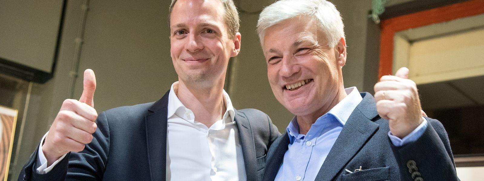 Serge Wilmes, que conquistou mais dois mandatos na capital, é um dos rostos da vitória do CSV – aqui com Claude Wiseler, candidato a primeiro-ministro.