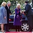 Croatian President Kolinda Grabar Kitarovic (L) and her husband Jakov (R) welcome Charles, Prince of Wales and his wife Camilla, Duchess of Cornwall, prior to an official welcoming ceremony in Zagreb on March 14, 2015.  / AFP PHOTO / STRINGER