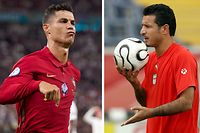 epa09298502 (FILE) - A composite picture of Cristiano Ronaldo of Portugal (L, taken on 23 June 2021 in Budapest, Hungary) and Ali Daei of Iran (R, taken on 16 June 2006 in Frankfurt, Germany) - (issued on 24 June 2021). Portugal's Cristiano Ronaldo equalled the men's international goalscoring record with his two penalties in the UEFA EURO 2020 group F preliminary round soccer match between Portugal and France on 24 June 2021. Ronaldo reached 109 international goals, sharing the joint world record with Iran's Ali Daei.  EPA/Hugo Delgado / Rungroj Yongrit