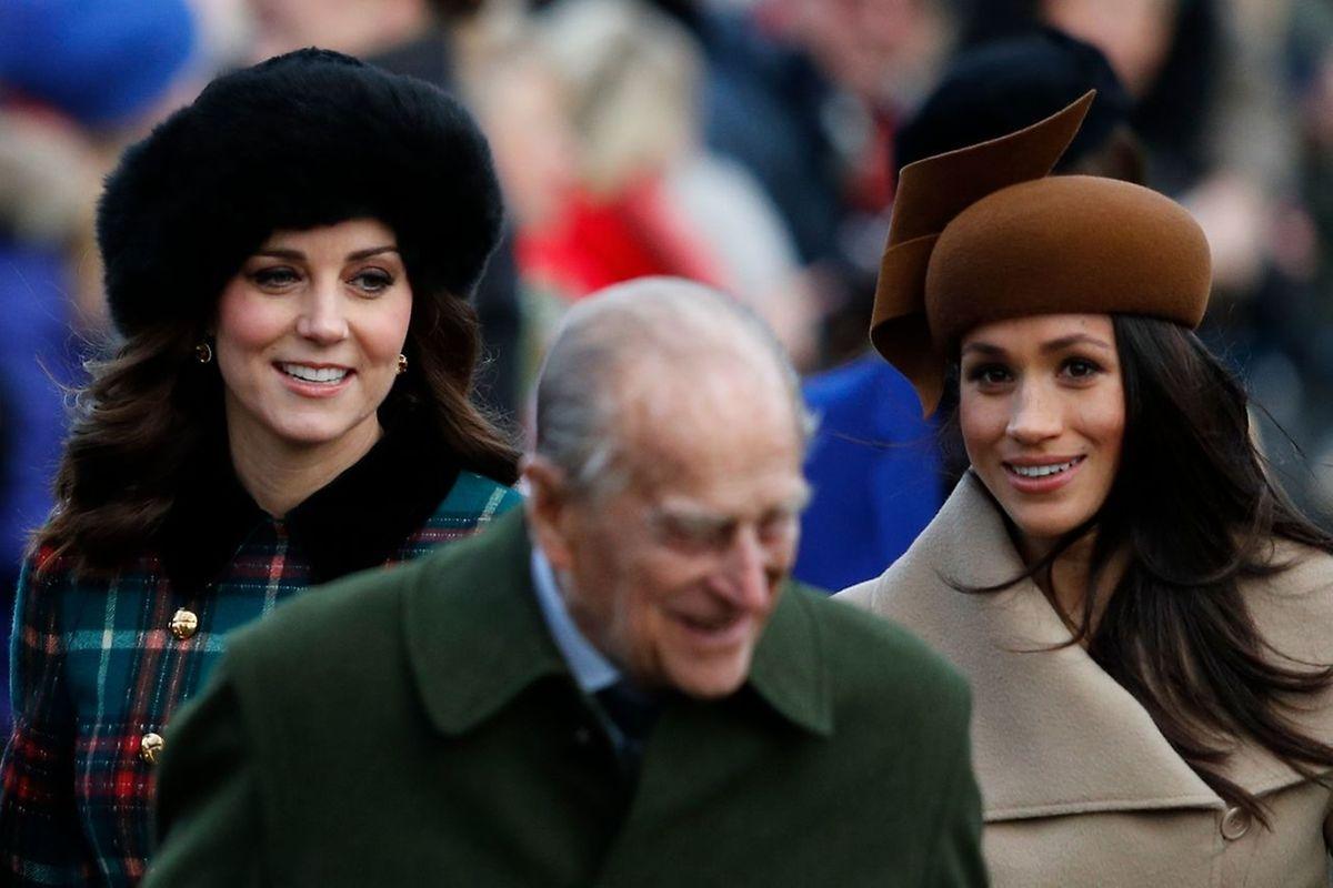 Catherine von Cambridge, Prinz Philipp, Duke of Edinburg und die Verlobte von Prinz Harry, Meghan Markle.