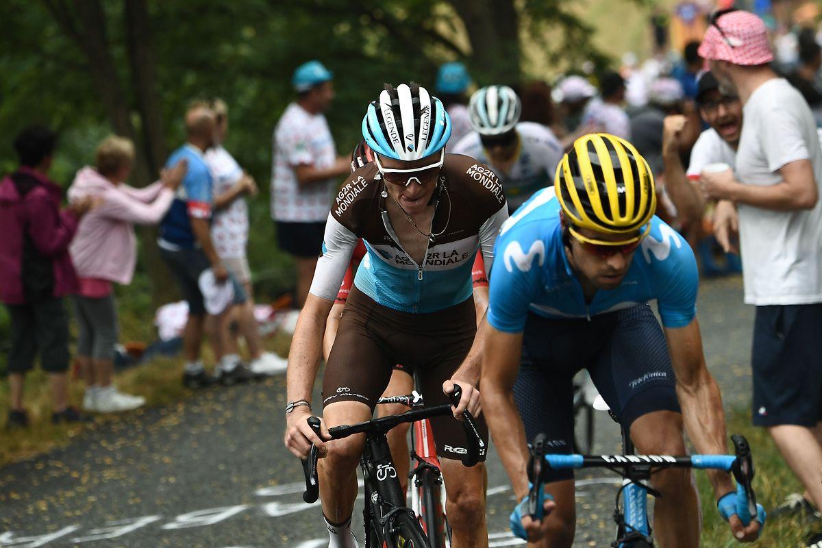 Mikel Landa (vorne) und Romain Bardet am Schlussanstieg.