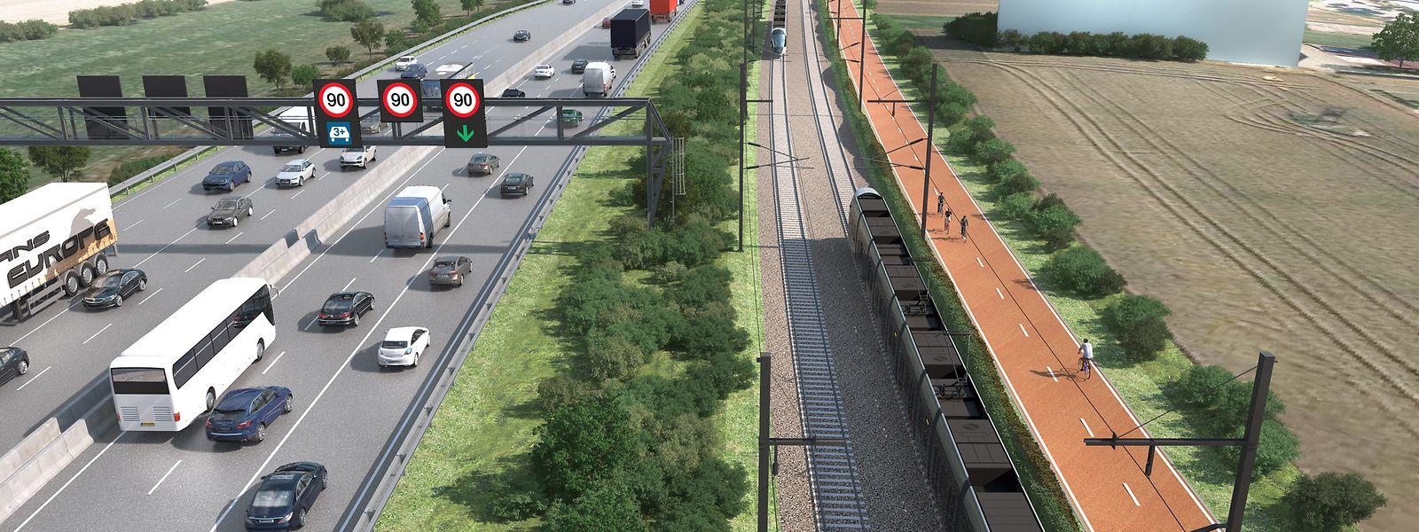Der Mobilitätskorridor auf der heutigen Autobahn A4. Die dreispurige Autobahn verfügt über eine Spur für Busse und Fahrgemeinschaften. Daneben verlaufen die Tramtrasse und der Fahrradexpressweg.