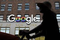 """(FILES) In this file photo taken on June 3, 2019 the Google logo adorns the outside of their NYC office Google building in New York City. - Amazon is eating into Google's giant slice of online search advertising in the US as businesses target the online retail platform's shoppers, according to an eMarketer forecast released on October 15, 2019. Google will continue to dominate the market for serving up ads along with search results, but Amazon and """"smaller players"""" including Walmart, Target, eBay and Pinterest are seeing their shares grow, the market tracker said. (Photo by Drew Angerer / GETTY IMAGES NORTH AMERICA / AFP)"""