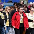 Family and friends arrive for the funeral of journalist Lyra McKee (29), who was killed by a dissident republican paramilitary in Northern Ireland on April 18, at St Anne's Cathedral in Belfast on April 24, 2019. - Lyra McKee, 29, who chronicled the troubled history of Northern Ireland, was shot in the head on April 18, 2019, as rioters clashed with police in Londonderry, the second city of the British province. (Photo by Paul Faith / AFP)