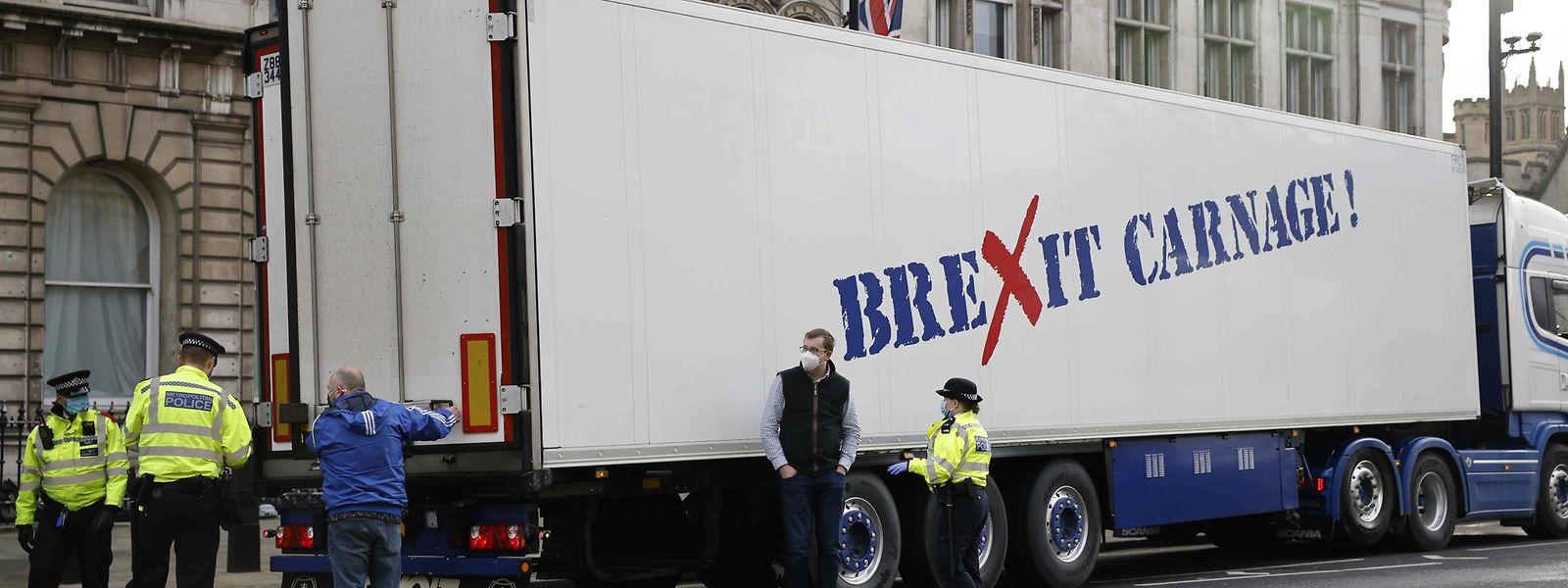 Protest in London gegen die Post-Brexit-Bürokratie und die Corona-Maßnahmen.