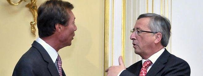 21. Juli 2009: Formateur Jean-Claude Juncker informiert Großherzog Henri über das Koalitionsabkommen.