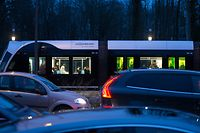 Einen Monat Tram in Kirchberg, Luxtram, le 08 Janvier 2018. Photo: Chris Karaba
