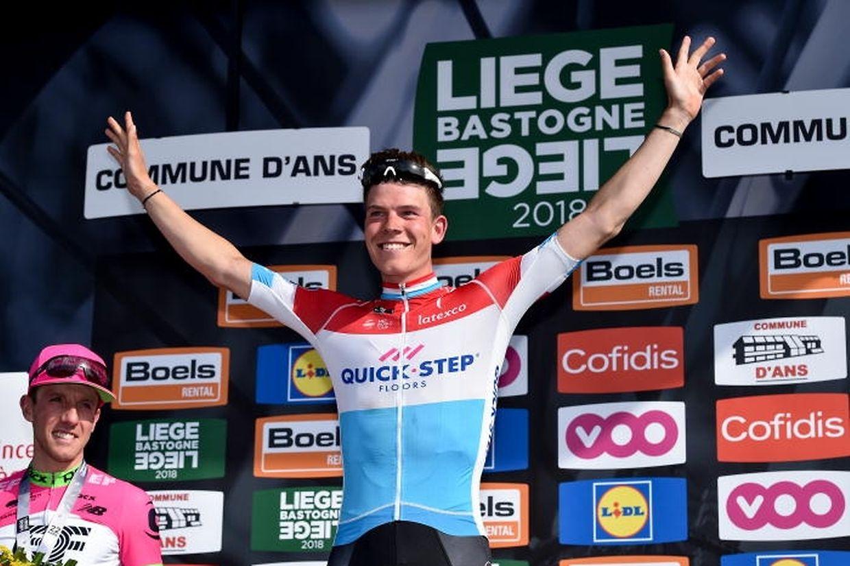 Bob Jungels sur le podium de Liège-Bastogne-Liège. Après Marcel Ernzer (1954) et Andy Schleck (2009), le champion national est le troisième Luxembourgeois à triompher sur la Doyenne.