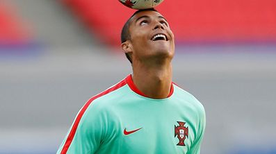 Cristiano Ronaldo at a training session with the Portuguese national team.