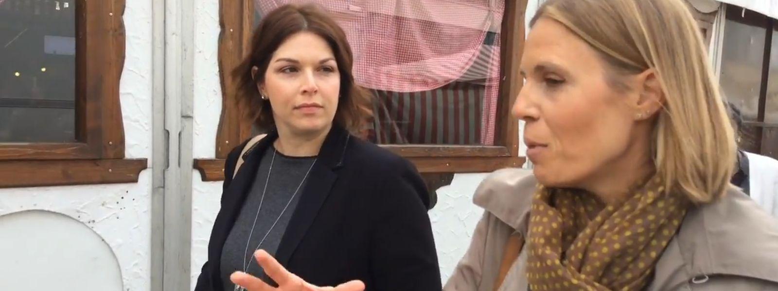 Dans les allées de la Fouer avec Céline Genson (à droite) pour parler diététique