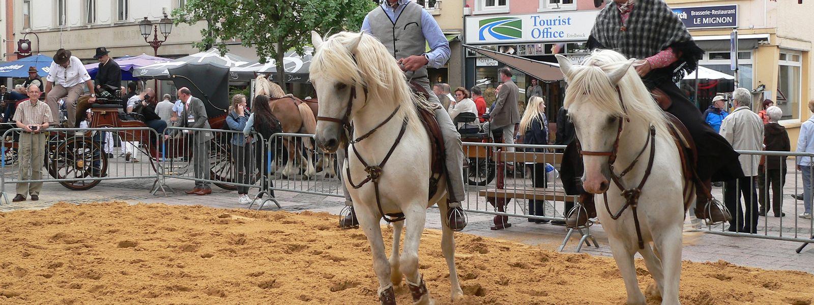 """Die prächtigen Camargue-Pferde und ihre Reiter gaben am Kirchplatz einen Vorgeschmack auf ihre Darbietungen auf der """"Foire agricole""""."""