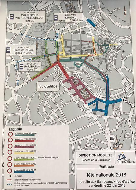 Plan de circulation pour le 22 juin.