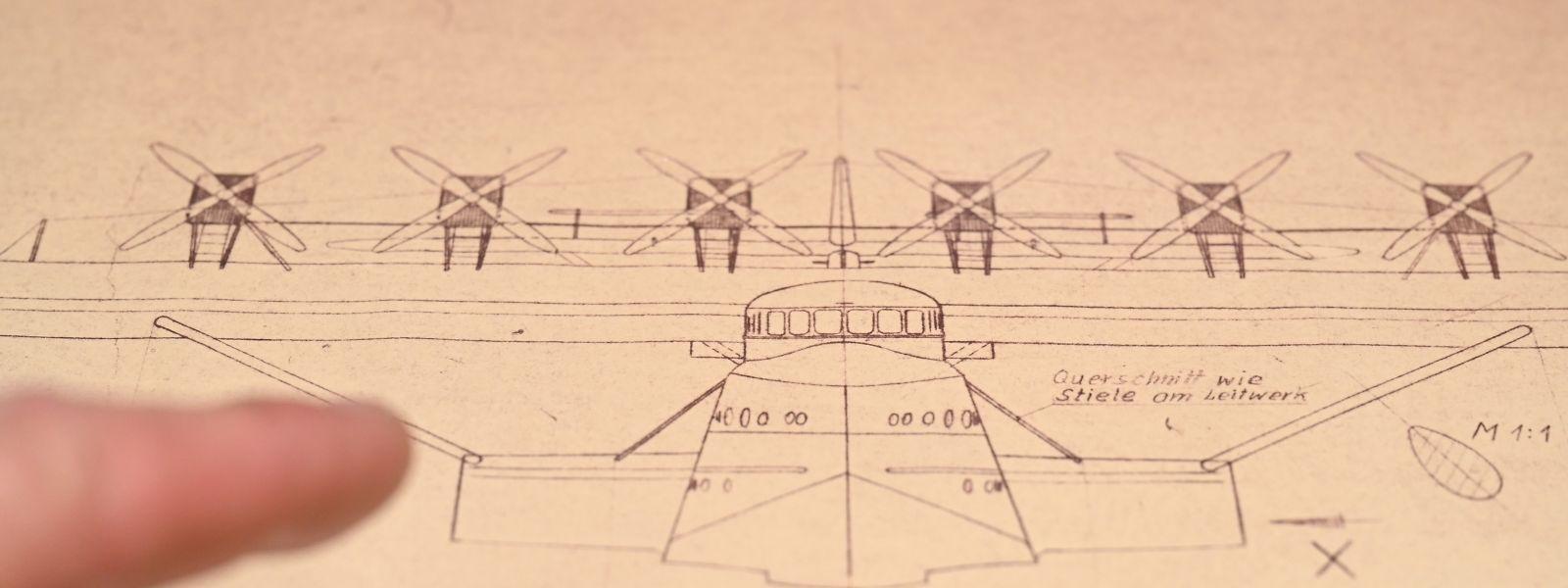 Eine historische Zeichnung der Do X.