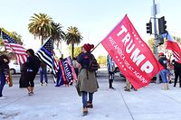 Supporters of US President Donald Trump hold a rally on Veteran's Day in Los Angeles, California, November 11, 2020 (Photo by Frederic J. BROWN / AFP)