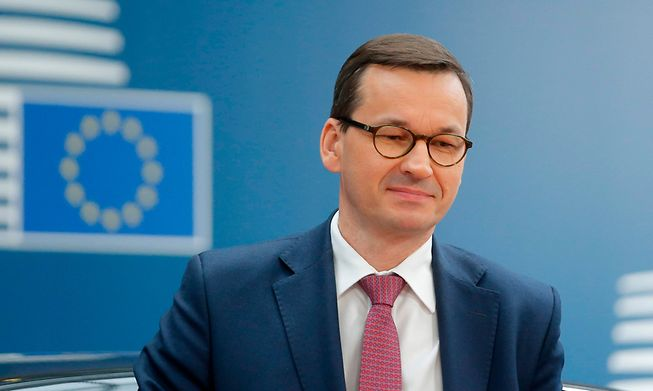 Poland's Prime Minister Mateusz Morawiecki, whose government has been embroiled in a row with the EU over several issues including anti-LGBTQ policies