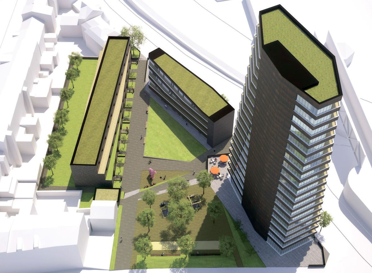 """Die wieder aktuell gewordene Originalvariante (oben) sieht mehr Grünflächen als die zweite (unten) vor. Auch beinhaltet sie einen 60 Meter hohen Turm mit 19 Stockwerken. Zum Vergleich: Die """"Maison du savoir"""" in Belval ist etwa 80 Meter hoch."""