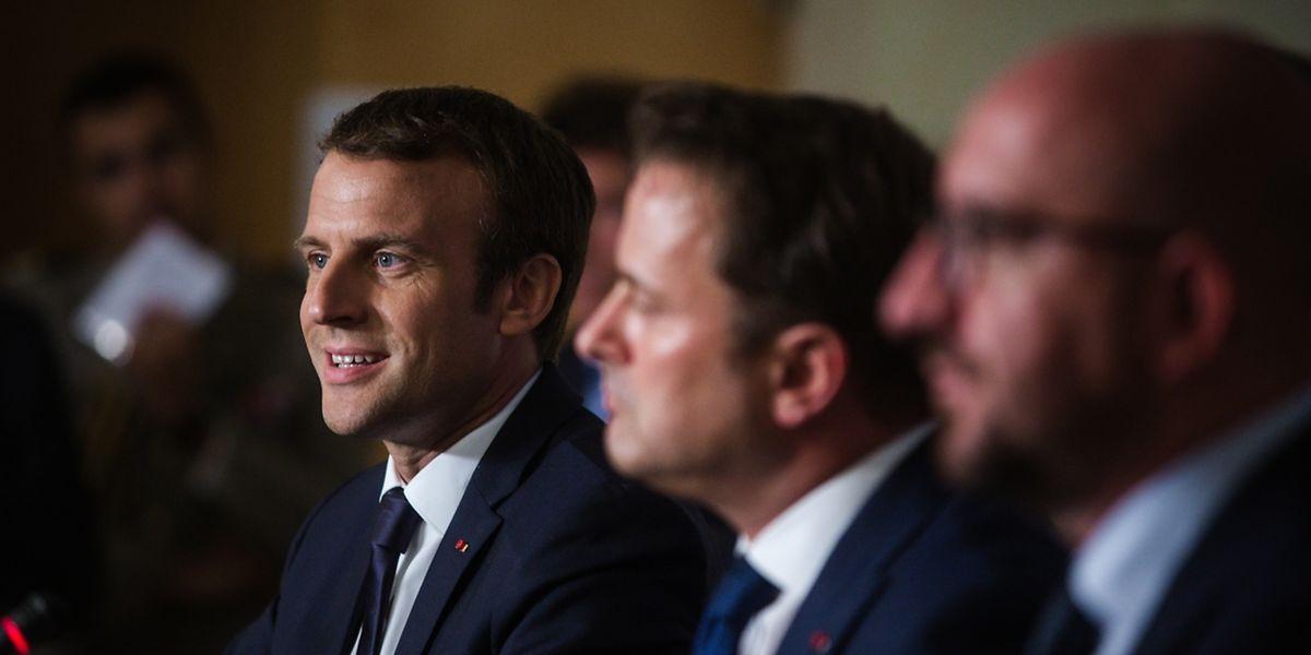Emmanuel Macron, Xavier Bettelund Charles Michel stellten sich der Presse.