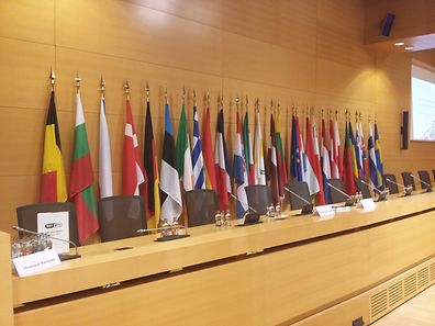 Spot the missing flag: the view of the Luxembourg Chamber of Commerce's conference room on Tuesday where one flag was missing
