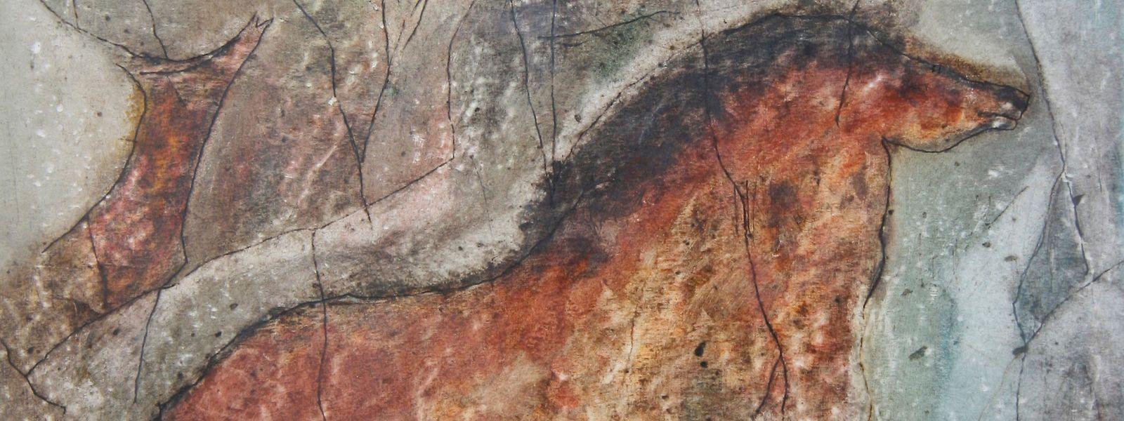 25000 Jahre alte Höhlenmalerei. Das Pferd in der Chauvet-Grotte.