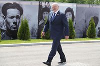 Belarus' President Alexander Lukashenko attends a ceremony unveiling the Soviet Soldier Memorial near Rzhev, Russia's Tver region, June 30, 2020. - The 25-metre-tall bronze figure of a Soviet soldier on top of the 10-metre-high hill commemorates mass casualties suffered by the Soviet army during World War II. (Photo by Mikhail Klimentyev / SPUTNIK / AFP)