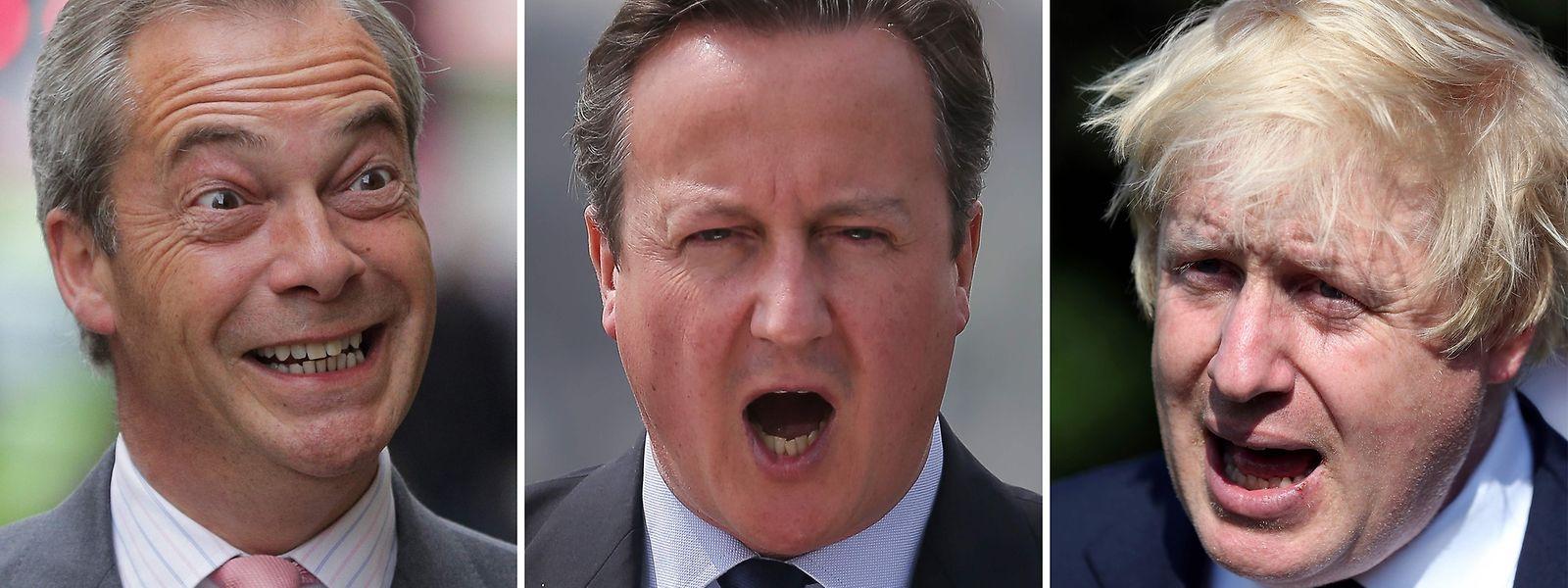 David Cameron (mitte) und seine beiden Gegner Nigel Farage und Boris Johnson.
