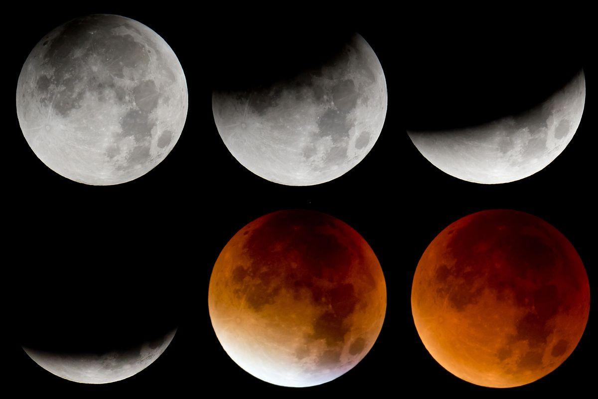 Die verschiedenen Phasen der totalen Mondfinsternis.