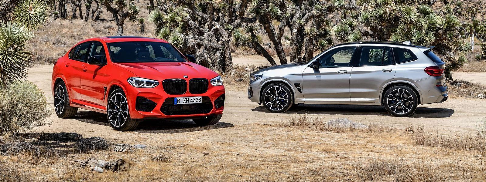 """Unter ihrem muskulösen Blechkleid sind der BMW X3 M (rechts) und der BMW X4 M – hier als """"Competition""""-Ausführungen – technisch baugleich."""