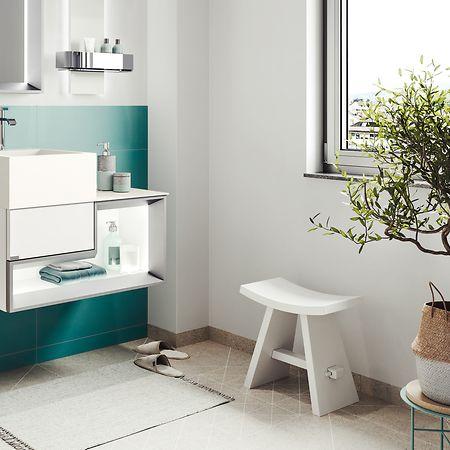 Wer ein großes Fenster im Badezimmer hat, durch das viel Licht einfällt, kann nahezu jedes Gewächs ins Bad stellen - so wie diesen Olivenbaum.