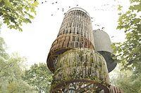 Le nouveau château d'eau s'intégrera parfaitement dans le cadre de verdure situé à la périphérie du Kirchberg.