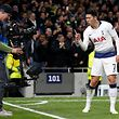 Tottenham Hotspur's South Korean striker Son Heung-Min celebrates scoring the opening goal during the UEFA Champions League quarter-final first leg football match between Tottenham Hotspur and Manchester City at the Tottenham Hotspur Stadium in north London, on April 9, 2019. (Photo by Ian KINGTON / AFP)