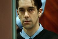 Belgian Michel Lelievre, one of the three suspected accomplices of convicted child rapist Marc Dutroux, waits in the court room on the third day of his trial in the Arlon court house in Belgium March 3, 2004.  Marc Dutroux, his ex-wife Michelle Martin, Michel Nihoul and Michel Lelievre, are standing trial for the abduction and rape of six girls and the murder of four of them in the mid-1990s.   REUTERS/Pool