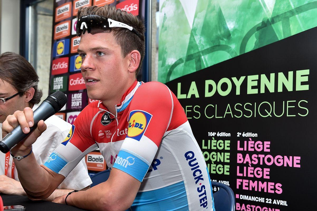 Bob Jungels (Quick-Step) bei der Pressekonferenz nach seinem Sieg bei Liège-Bastogne-Liège.