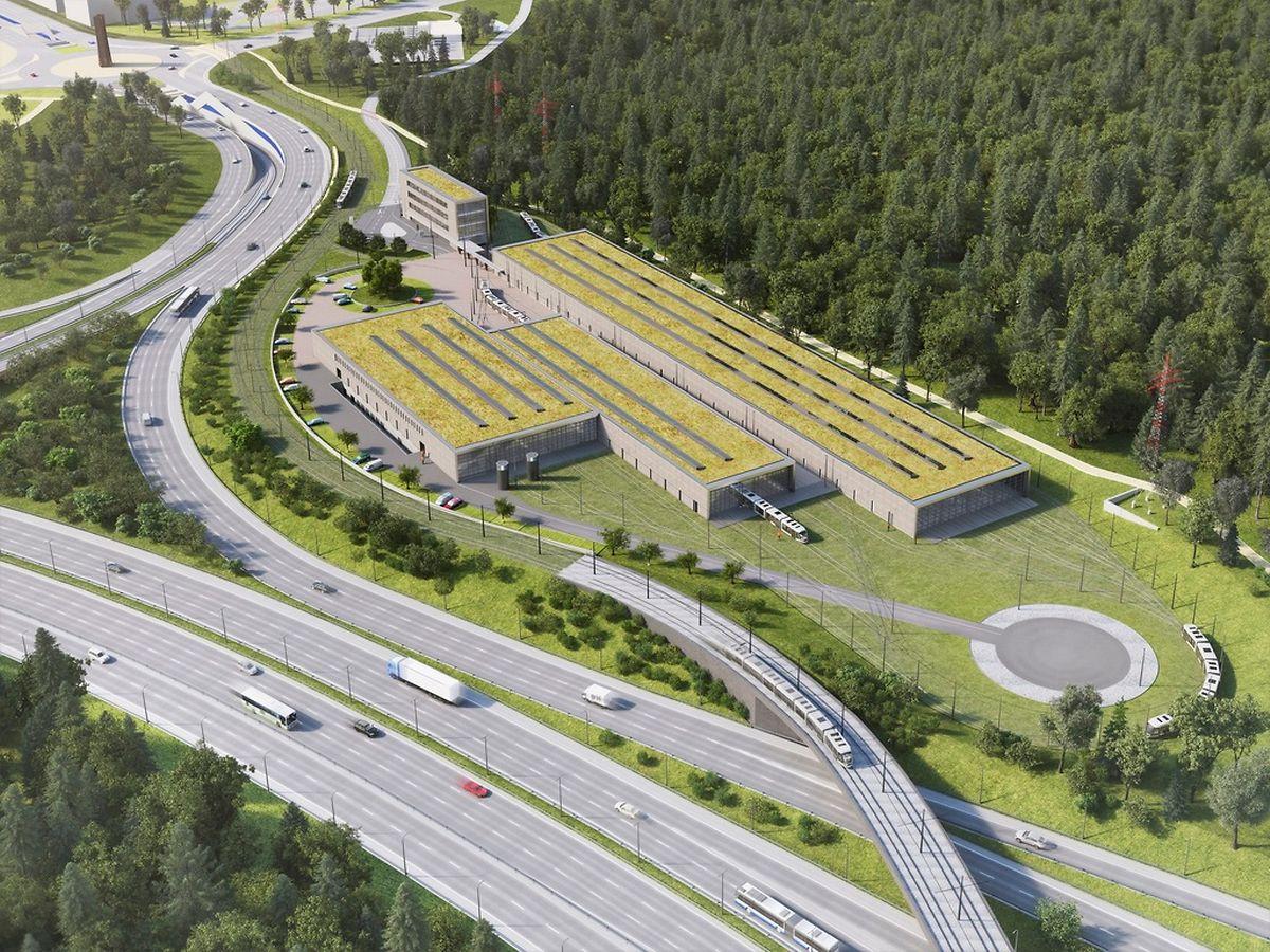 Le dépôt sera construit le long de l'autoroute entre Senningerberg et le Kirchberg