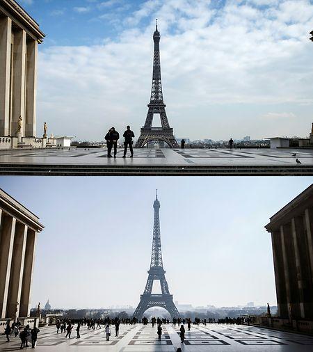La Tour Eiffel vue du Trocadero ce 20 mars 2020 et celle du 22 février 2018. Les touristes se font plus rares.