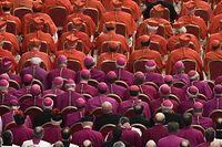 Kardinäle (in rot), Bischöfe (in violett), und Priester (in weiß) nehmen am 19. November 2016 im Petersdom in Rom an einem Gottesdienst teil.