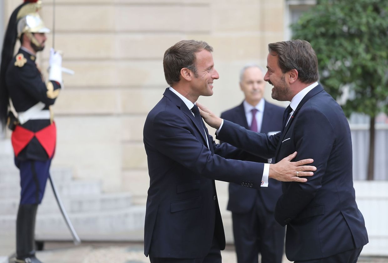 Xavier Bettel bei seinem Treffen mit Emmanuel Macron im Elysée-Palast.