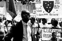 O Capitão Marcelino da Mata participa na manifestação de comandos africanos, da Guiné-Bissau, junto ao Ministério da Defesa contra o abandono por parte das autoridades portuguesas, em Lisboa a 21 de agosto de 1986.  Manuel Moura / Lusa