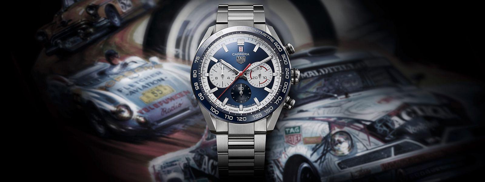 """Die zum Jubiläum des Uhrenhauses TAG Heuer entworfene """"Carrera Sport Chronograph 160 Years Special Edition"""" wurde von der klassischen Heuer """"Dato 45"""" von 1965 inspiriert."""