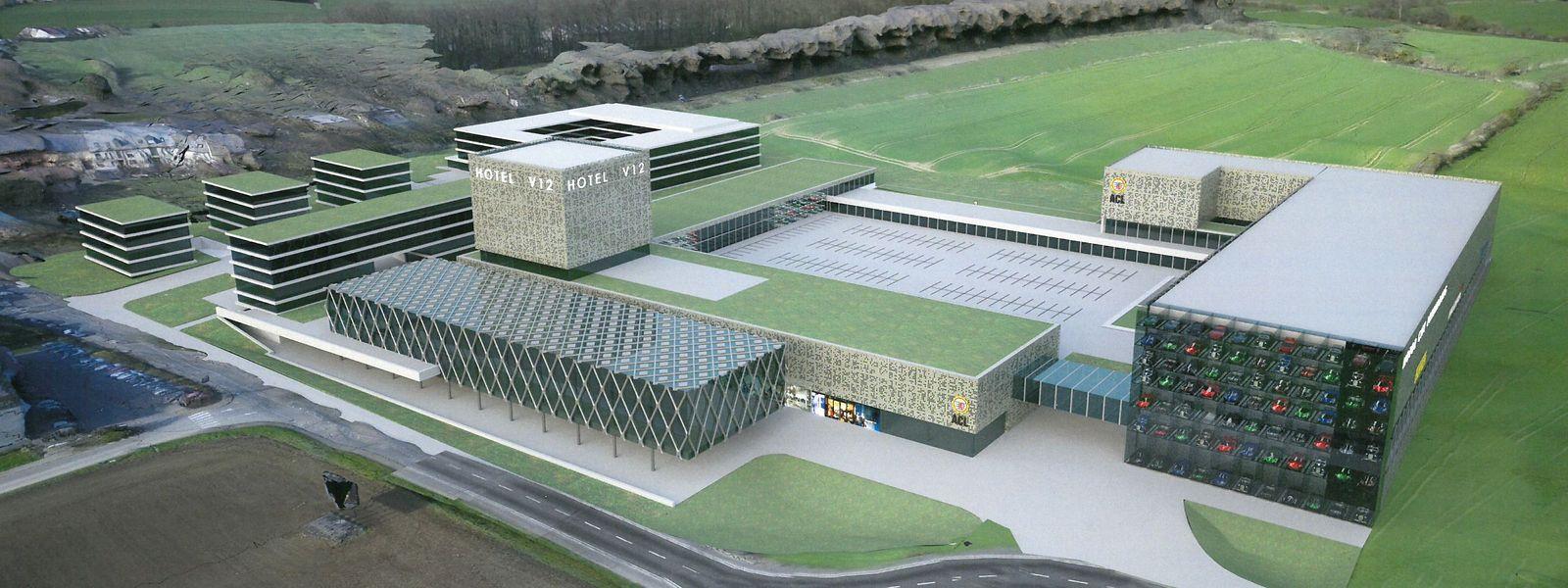 """Ein Hotel mit 80 Zimmern, eine """"indoor"""" Kartpiste, Glasgaragen für Nobelkarossen, sind nur einige der Ideen der Giorgettigruppe für den Standort an der A4-Ausfahrt in Wickringen."""