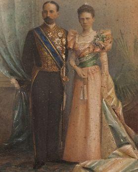 O Visconde de Pindela, Vicente Pinheiro Lobo Machado de Melo e Almada (1852-1922) e a mulher, Maria Amália de Sousa Botelho Mourão e Vasconcelos (1858-1918)