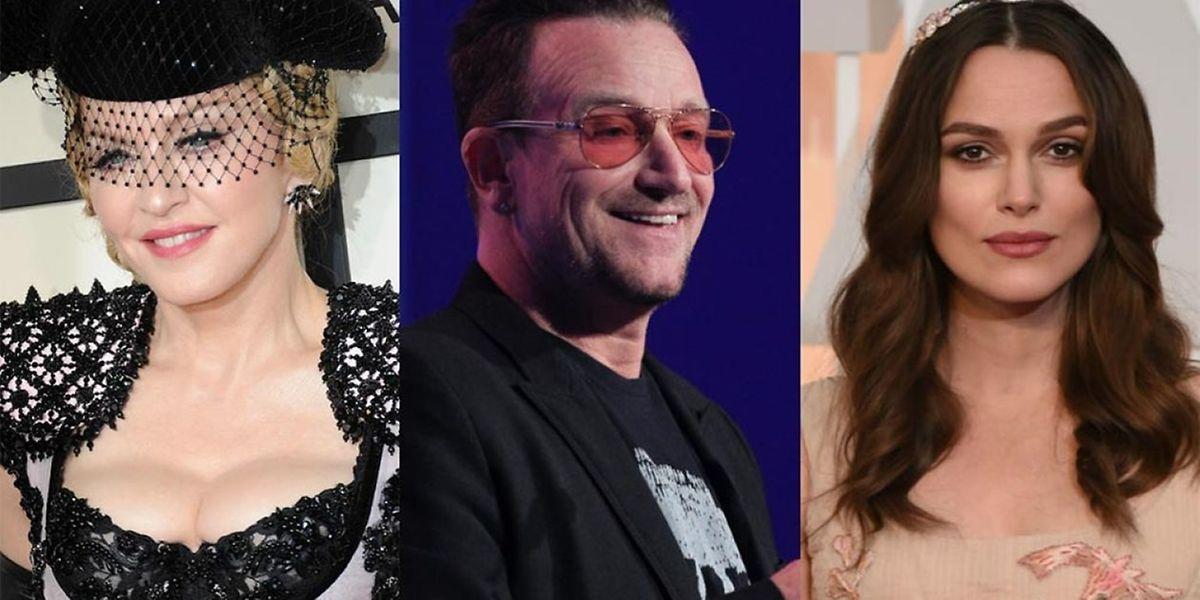 Madonna, Bono, Keira Knightley