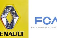 (FILES) In this file combination of pictures created on May 27, 2019 shows a photo of the logo of French carmaker Renault on March 2, 2011 and a handout picture (R) released on January 29, 2014 by Fiat Press Office of the logo of Italian auto maker FCA (Fiat Chrysler Automobiles). - Renault's board of directors will meet on June 4, 2019 to formulate its response to a merger proposal by Fiat Chrysler, which is likely to lead to talks aimed at creating the world's third-largest automaker, the company said. (Photo by Fabrice COFFRINI / various sources / AFP)