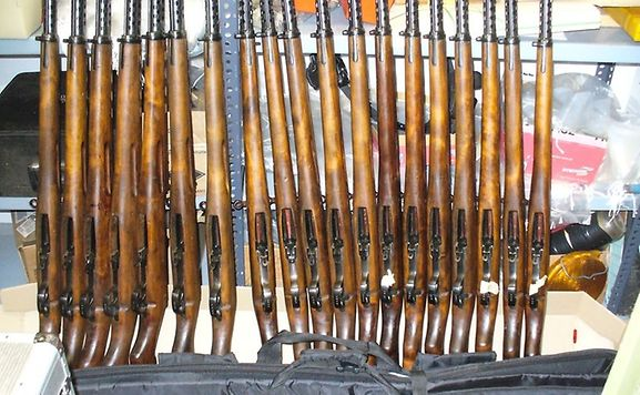 Just a few of the rifles discovered in the back of a car travelling from Luxembourg