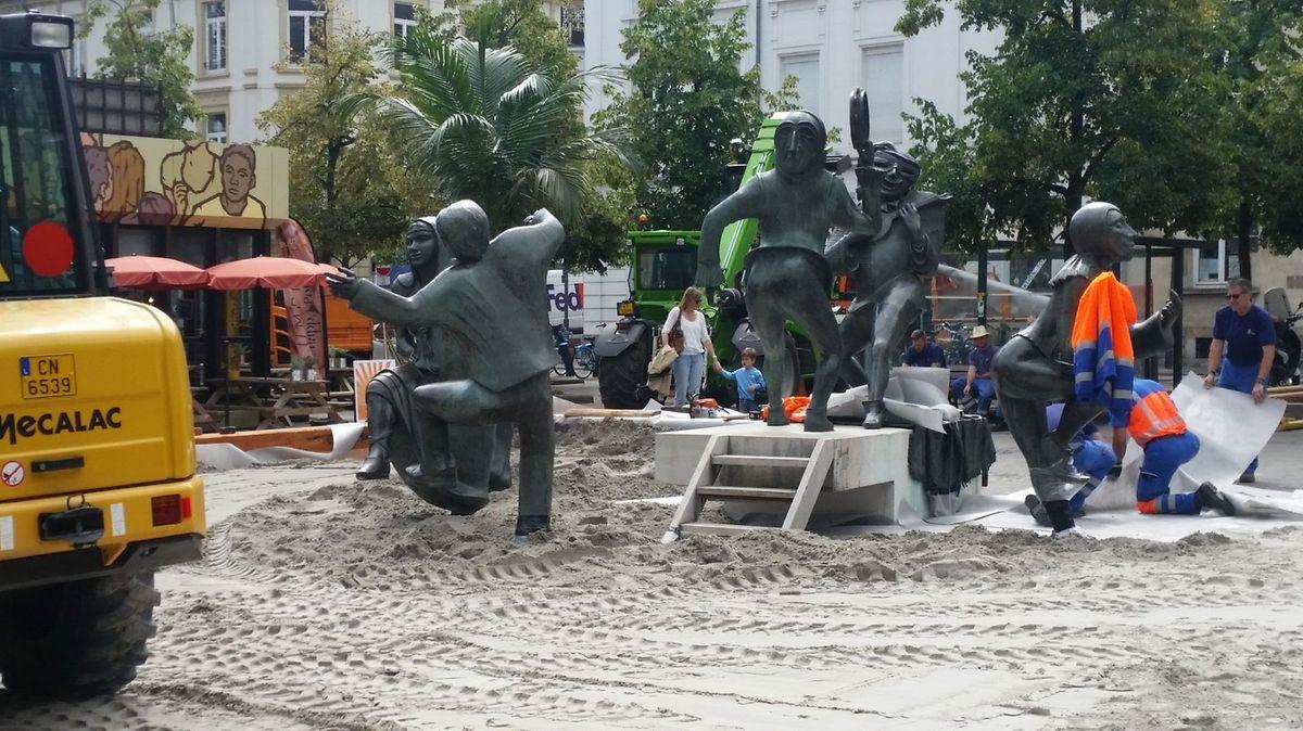 La plage de Luxembourg en construction.