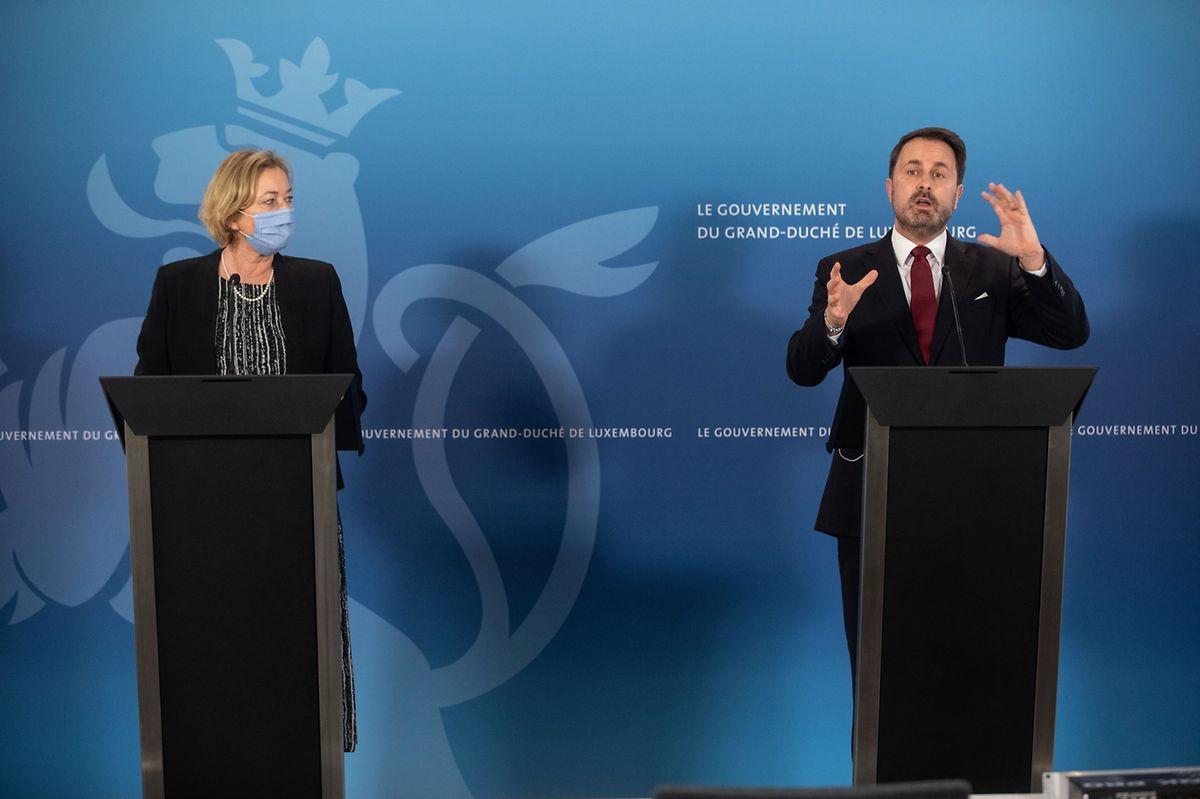Health Minister Paulette Lenert (left) and Prime Minister Xavier Bettel giving a coronavirus update on Friday Photo: Gerry Huberty