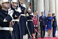Le Grand-Duc Henri et la Grande Duchesse Maria Teresa arrivent au Palais de l'Elysée avec le Président Francais Emmanuel Macron et son épouse Brigitte Macron, à Paris, France, le 19 Mars 2018 . Photo: Chris Karaba