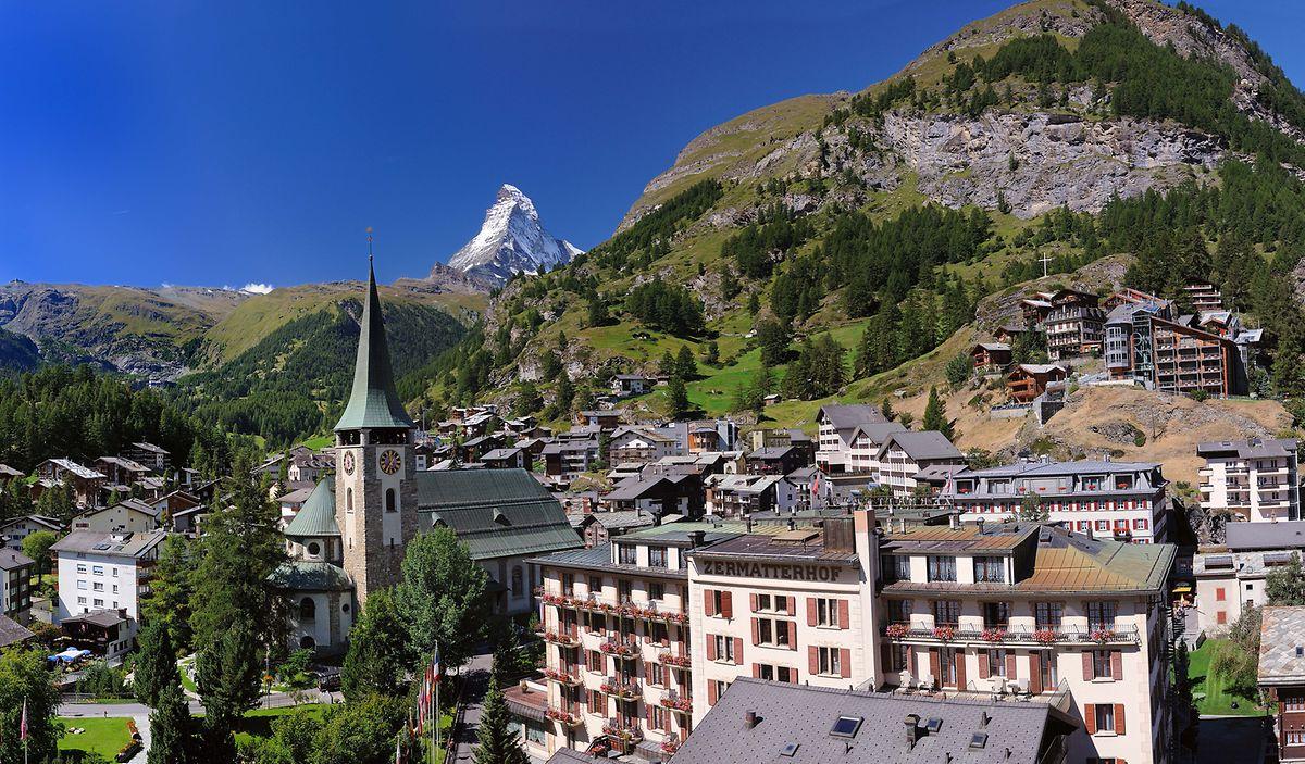 Zermatt und sein Wahrzeichen, das Matterhorn.